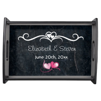 Wedding Memento Black Stone Abstract Texture Serving Tray