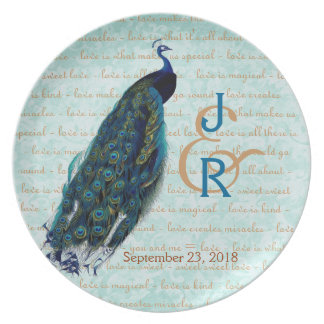 Wedding Memento with Blue Peacock Plate
