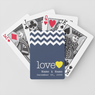 Wedding Memento with modern chevron pattern Playing Cards