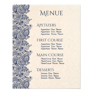Wedding Menu Beige Linen & Dark-Blue Lace