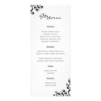 Wedding Menu Black and White Personalized Invite