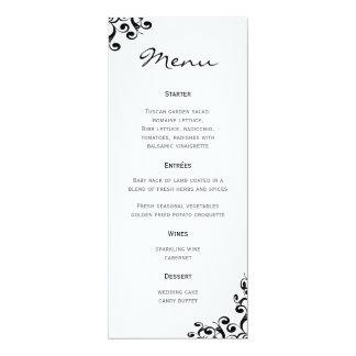 "Wedding Menu Black and White 4"" X 9.25"" Invitation Card"