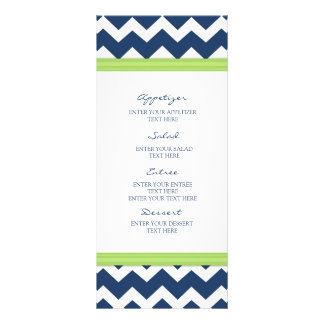 Wedding Menu Blue Lime Chevron Full Color Rack Card