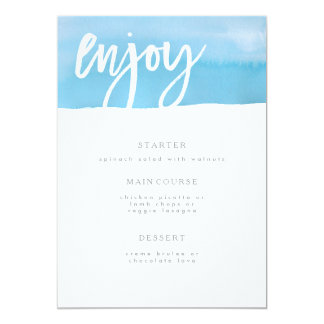 Wedding Menu Card, Blue Watercolor Card