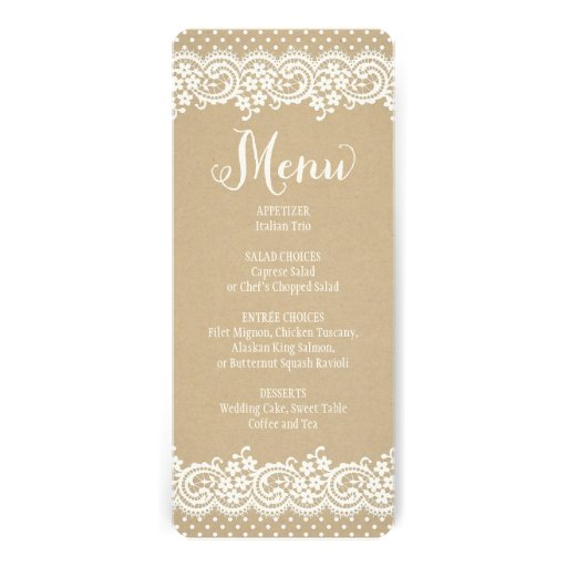 Wedding Menu Card | Lace and Kraft