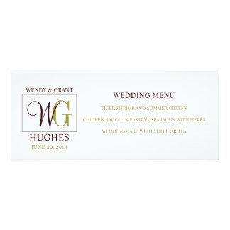 Wedding Menu Card with Custom Monogram Logo 10 Cm X 24 Cm Invitation Card