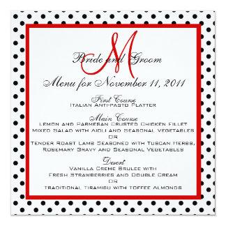 Wedding Menu Cards Dots Red Monogram Square 13 Cm X 13 Cm Square Invitation Card