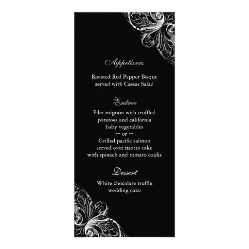 Wedding Menu Cards Elegant Monogram Black White Rack Card Template