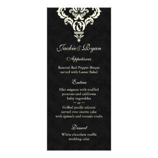 Wedding Menu Cards Formal Black Cream Suede Personalized Rack Card