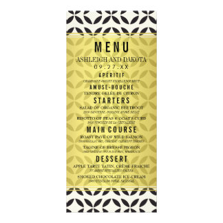 Wedding Menu | Cream & Black Geometric Pattern