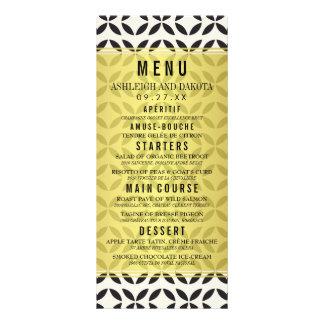Wedding Menu | Cream & Black Geometric Pattern Custom Rack Card