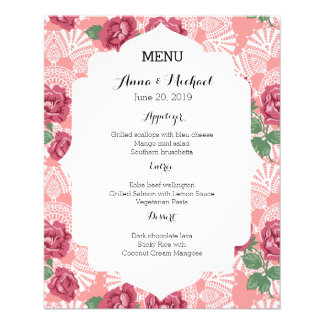 Wedding Menu Delicate Country Chic Rose & Lace 11.5 Cm X 14 Cm Flyer
