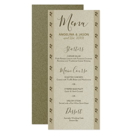 Wedding Menu Golden Floral Elegant Sandstone Card