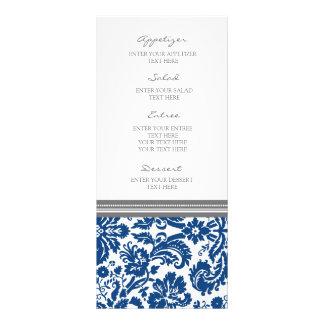 Wedding Menu Grey Blue Damask Pattern