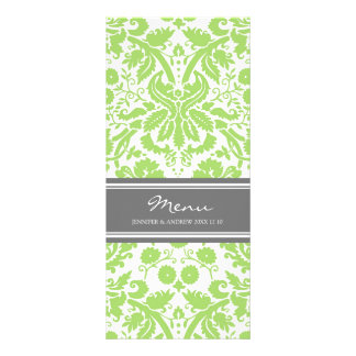 Wedding Menu Grey Lime Damask Pattern Customised Rack Card