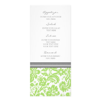 Wedding Menu Grey Lime Damask Pattern Rack Card Template