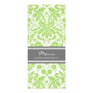 Wedding Menu Grey Lime Damask Pattern Customised Rack Card