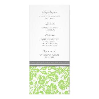Wedding Menu Grey Lime Damask Pattern Rack Card Template