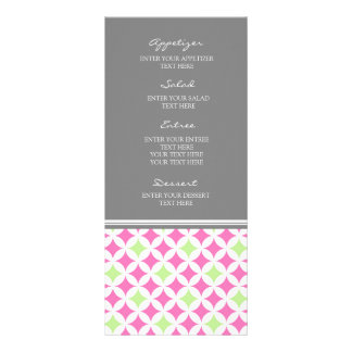 Wedding Menu Grey Lime Pink Pattern Custom Rack Cards