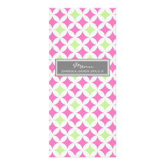 Wedding Menu Grey Lime Pink Pattern Rack Card