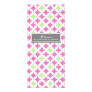 Wedding Menu Grey Lime Pink Pattern Rack Card