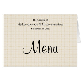 Wedding Menu in Light Beige Check and Black Text. Card