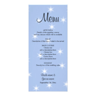 Wedding Menu in Light Blue with White Stars. Customized Rack Card