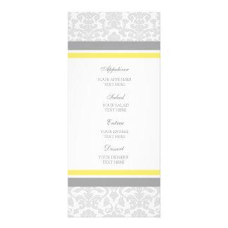 Wedding Menu Lemon Gray Damask