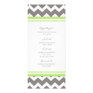 Wedding Menu Lime Gray Chevron Rack Card Template