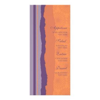 Wedding Menu Orange and Purple Swirls Rack Cards