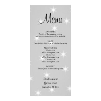 Wedding Menu, Pale Gray with White Stars. Rack Card Template