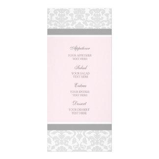 Wedding Menu Pink Gray Damask
