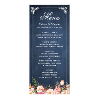 Wedding Menu Rustic Floral Vintage Blue Chalkboard