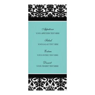 Wedding Menu Teal Black Damask