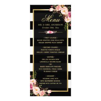 Wedding Menu Vintage Floral Black White Striped Personalized Rack Card
