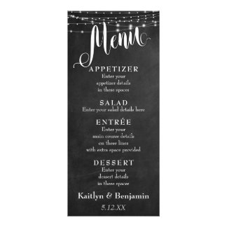 Wedding Menu w/ White Light Strings & Chalkboard