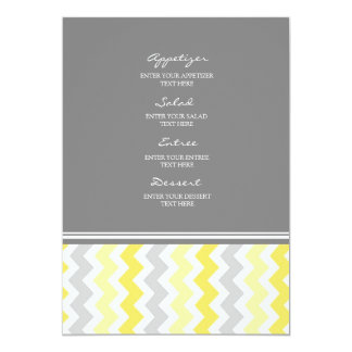 Wedding Menu Yellow Gray Chevron Card