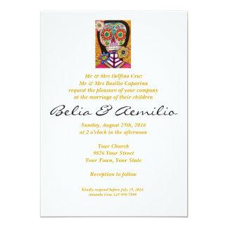 Wedding - Mexican Woman Pink Sugar Skull 13 Cm X 18 Cm Invitation Card