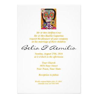 Wedding - Mexican Woman Pink Sugar Skull Custom Announcements