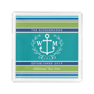 Wedding Monogram Anchor Laurel Wreath Aqua Stripes Acrylic Tray