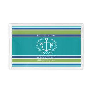 Wedding Monogram Anchor Laurel Wreath Aqua Stripes Acrylic Tray