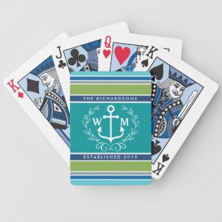 Wedding Monogram Anchor Laurel Wreath Aqua Stripes Bicycle Playing Cards