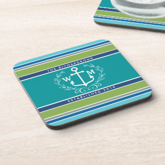 Wedding Monogram Anchor Laurel Wreath Aqua Stripes Coaster
