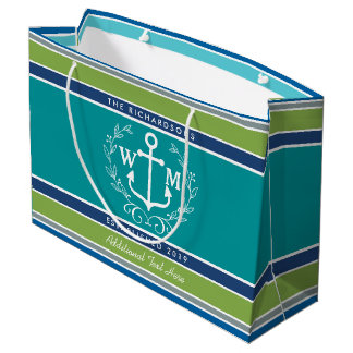 Wedding Monogram Anchor Laurel Wreath Aqua Stripes Large Gift Bag
