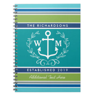Wedding Monogram Anchor Laurel Wreath Aqua Stripes Notebooks