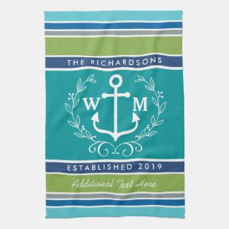 Wedding Monogram Anchor Laurel Wreath Aqua Stripes Tea Towel