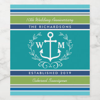 Wedding Monogram Anchor Laurel Wreath Aqua Stripes Wine Label