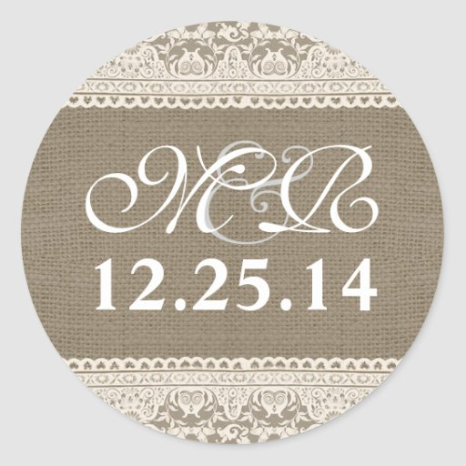 wedding monogram and date burlap lace stickers