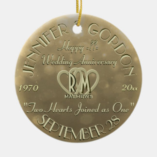 Wedding Monogram Anniversary Gold Color Ceramic Ornament