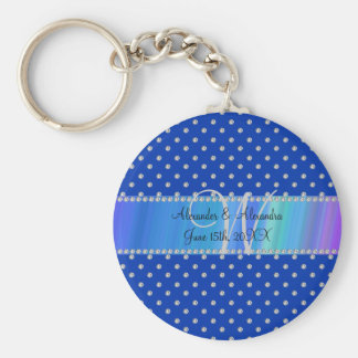Wedding monogram blue diamonds keychain